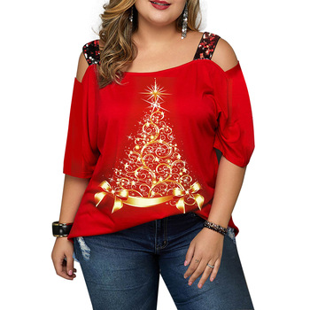 Off Shoulder Top Blouse Tops For Women Red Christmas Tree Print Loose Short Sleeve T Shirt