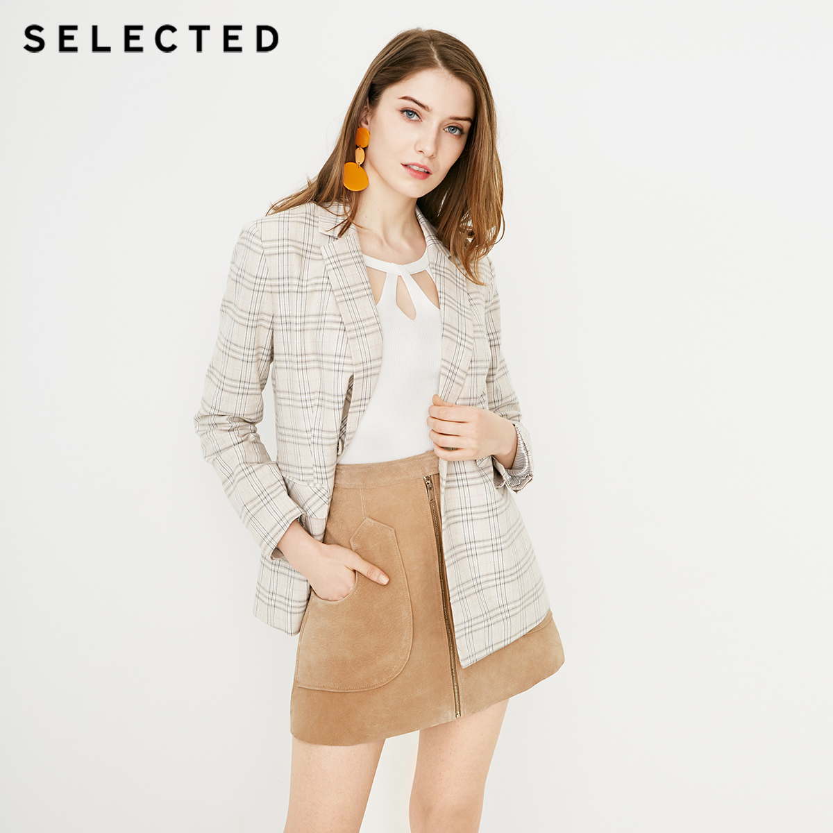 SELECTED Women's Cotton And Linen Checked Double-breasted Suit Jacket S|419208501