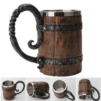500ml Simulation Crude Wood Mug Double Wall Insulated Beer Cup Wine Tumbler Big Drinking Mug Wine Tumbler Beer Drinking Wood Mug beer in a green mug