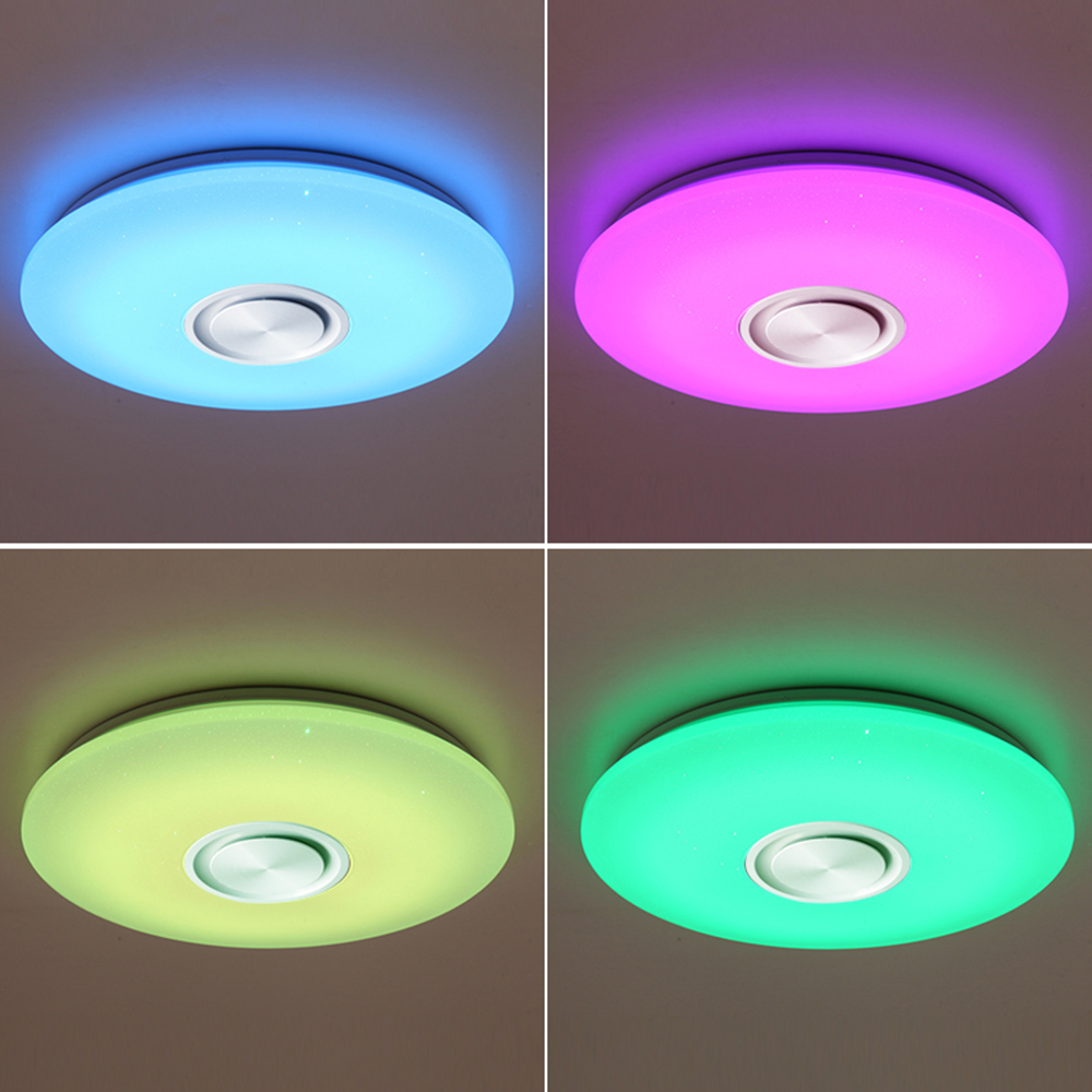 Music Led Ceiling Light Lamp Starry RGB Flush Mount Round Starlight Music With Bluetooth Speaker Dimmable Color Changing Light