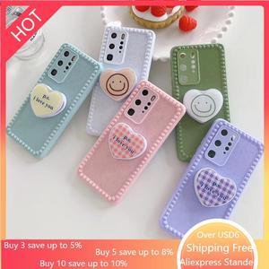 Koreański popularne miłość Smiley 3D składany stojak etui na telefony dla Huawei P30 P40 Pro Mate30 mate 30 Pro + nova 5 6 7 Nova5 nova6 okładka