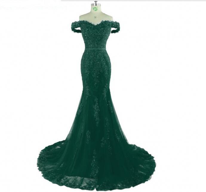 Emerald Green Long Lace Mermaid Evening Dresses Party Women 2018 Beaded Formal Evening Gowns Dresses Wear Robe De Soiree Longue