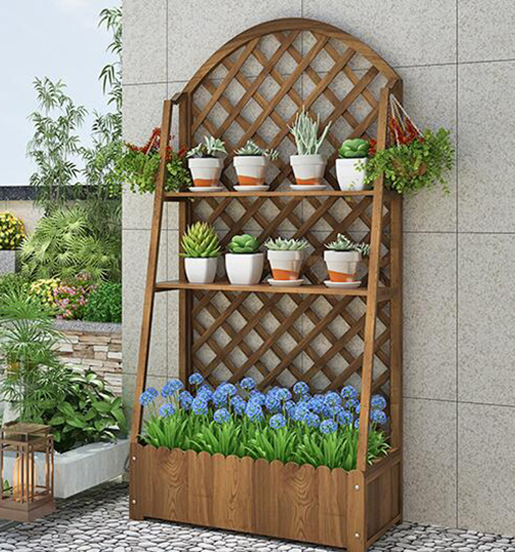 Garden Decoration Outdoor Wood Plant Climbing Frame Bracket Antiseptic Balcony Flowerpot Shelf Grid Flower Stand