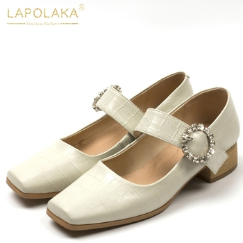 Lapolaka Hot Sale 2020 Genuine Leather Concise Pumps Woman Shoes Chunky Heels Buckle Strap Crystal Office Lady Shoes Women
