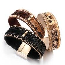 Amorcome Fashion Snake Skin Leopard Print Leather Bracelet&Bangle For Women Bohemian