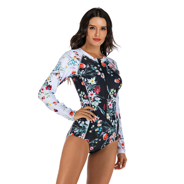 Women Long Sleeve Floral Print Zipper One Piece Swim Bathing Suit Surf Suit Wetsuit Swimwear 4