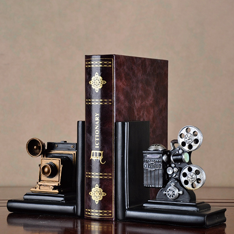 EASY-Retro Camera Bookend Movie Film Projector Black Silver Collector's Project Creative Bookcase Vintage Jewelry Study Room Stu