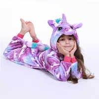 Kigurumi Onesie enfants Licorne pyjamas pour enfants Animal bande dessinée couverture dormeurs bébé Costume hiver garçon fille Licorne Jumspuit