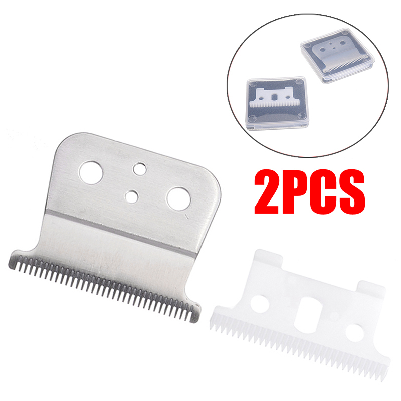 2pcs/set New Hair White Clipper Ceramic Blade Cutter + Silver Metal Bottom Cutter For Andis Shear Pet Products Dog Hair Trimmers image
