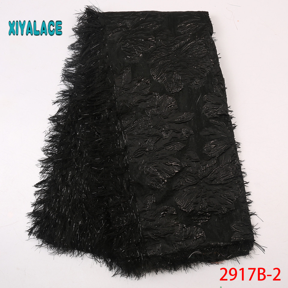 African Lace Fabric Black Fabric 2019 Quality Lace French Lace Fabric Nigeria Swiss Lace Fabric Horse Tail Hair YA2917B-2