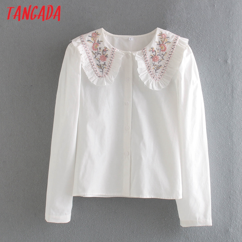 Tangada-Blusa informal de algodón con manga larga para mujer, camisa blanca bordada para mujer, cuello vuelto, CE29