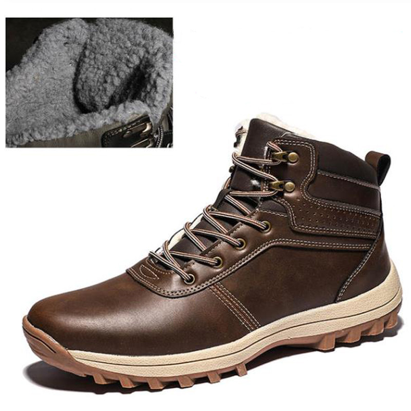 Men Boots Winter Shoes With Fur 2019 Fashion Leather Shoes Mans Footwear Casual Ankle Boots Man Winter Sneakers Plus Size 39-48