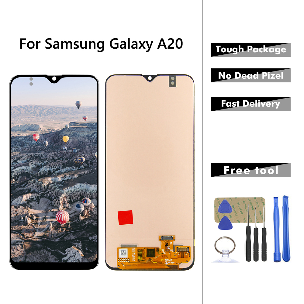 AMOLED <font><b>LCD</b></font> For <font><b>Samsung</b></font>-<font><b>Galaxy</b></font> <font><b>A20</b></font> A205 A205F/DS A205F <font><b>LCD</b></font> Display Touch Screen Digitizer Assembly Replacement For samsunng <font><b>a20</b></font> image