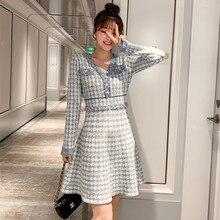 Новое модное осеннее платье женские элегантные винтажные платья в гусиную лапку дамское подиумное жаккардовое трикотажное платье