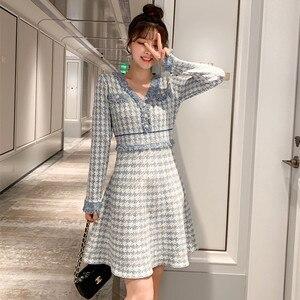 2020 New Fashion Autumn Dress Women Elegant Vintage Houndstooth Dresses Ladies Runway Jacquard knitting Dress(China)