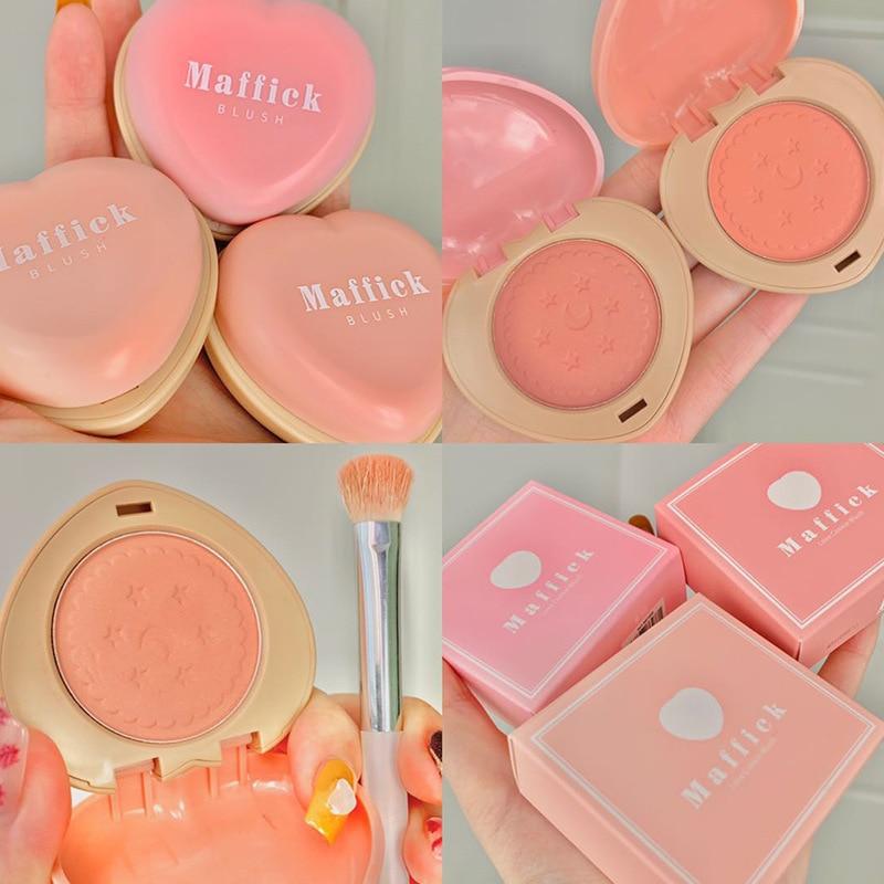 Colorete en forma de amor, colorete impermeable a prueba de sudor, paleta de rubor monocromático Natural, maquillaje facial de larga duración, 1 ud.