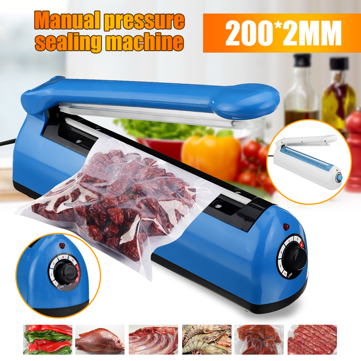 230mm 300W Pulse Power Sealer Heat Sealing Machine Kitchen Food Sealer Vacuum Bag Sealer Plastic Bag Packing Tools US EU Plug
