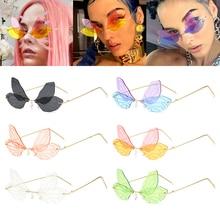 Fashion Rimless Sunglasses Women Vintage Dragonfly Steampunk