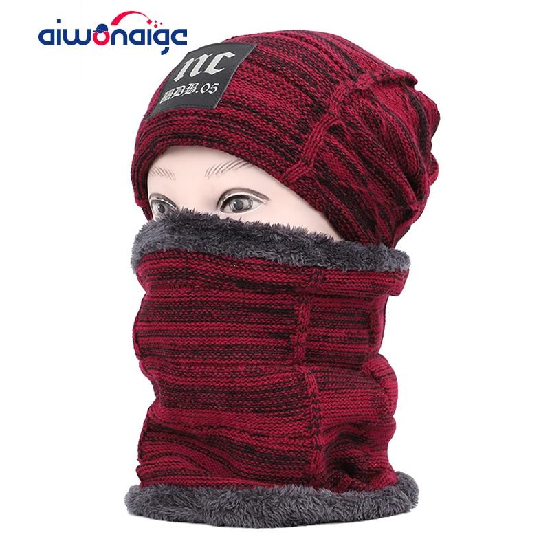 2019 New NC Label Men And Women Cotton Cap Scarf Suit Men's Winter Hat Scarf 2 Piece Set Plus Velvet Thick Outdoor Warm Hat