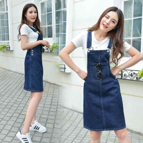 Летнее женское джинсовое платье джинсовый сарафан для девочек Harajuku Свободный комбинезон женский Мори цвет регулируемый Плетеный женский ремень платья WF29