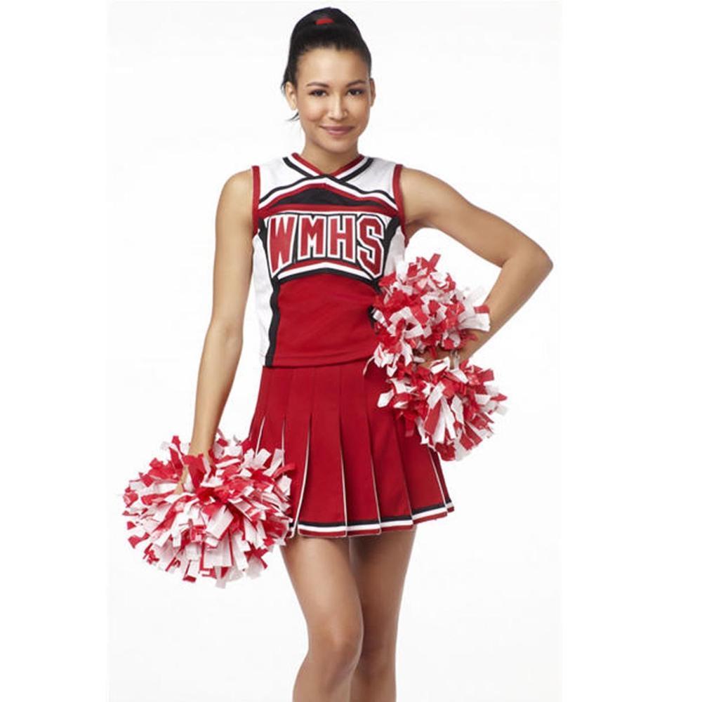 High School Girl Ladies Glee Style Cheerleading Costume Cheerleader Fancy Dress Uniform Party Costume Top+Skirt