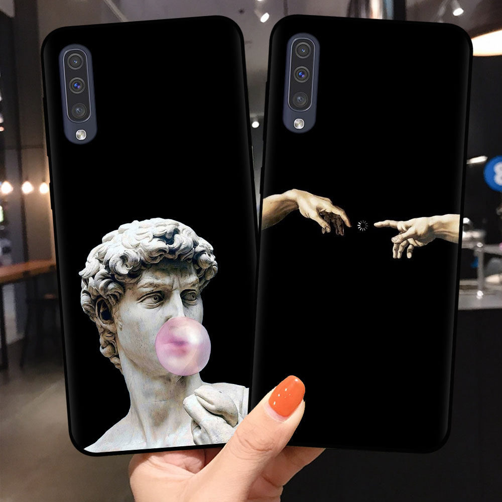 Luxe Cover Voor Samsung A10 A20 A30 A40 A50 A70 A9 A7 A8 A6 Plus 2018 Telefoon Case Cartoon Standbeeld abstracte Kunst Siliconen Shell