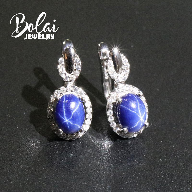 Bolai Star Sapphire Stud Earrings 925 Sterling Silver Created Blue Gemstone Fine Jewelry Clasp Earring For Women Wedding Gift