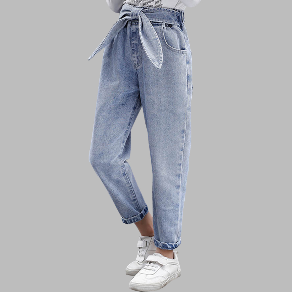 2020 Spring Kids Jeans Girl Solid Jeans For Girls Fashion Bow Girls Jeans Pants Autumn Casual Girls Clothes 6 8 10 12 14 Year title=