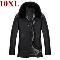 new plus size 10XL 9XL 8XL genuine leather coat for men Cotton liner sheepskin leather jacket winter jackets for men
