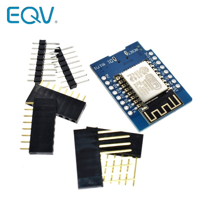 EQV D1 Mini ESP8266 ESP-12 ESP-12F CH340G CH340 V2 USB WeMos WIFI Development Board D1 Mini NodeMCU Lua IOT Board 3.3V With Pins