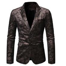 Men Blazer 2020 Spring and Autumn New Dark Pattern Slim Style Retro Casual  Two-button for