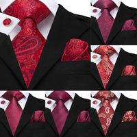 Hi-Tie Wedding Ties for Men Red Paisley Tie Set Silk cravate Floral Neck Tie Pocket Square Cufflinks for Groom Husband