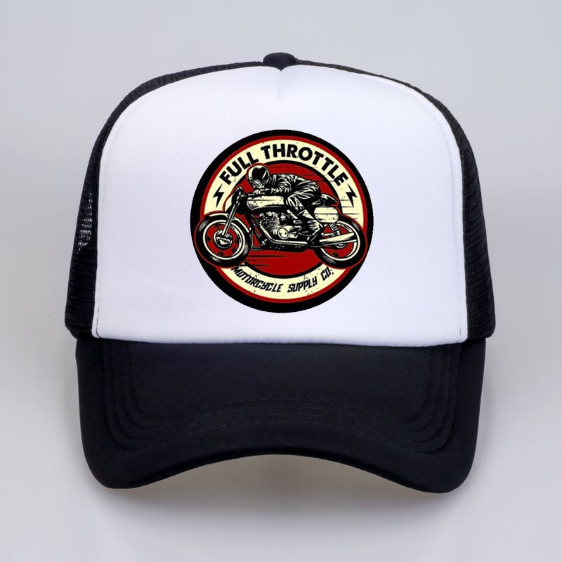Full Throttle Cafe Racer Rockabilly Biker Baseball Cap Men 2020 Summer Cotton Trucker Cap Men Mesh Snapback Hat Bone