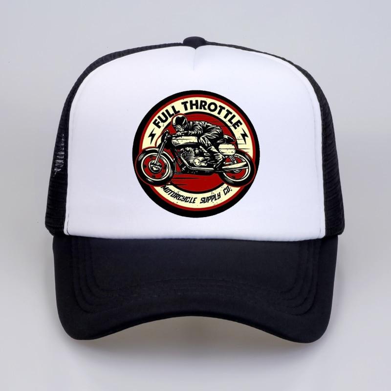 Full Throttle Cafe Racer Rockabilly Biker Baseball Cap Men 2020 Summer Cotton Trucker Cap Men Mesh Snapback Hat Bone