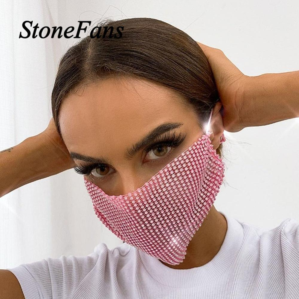 Stonefans Fashion Bling Rhinestone Decoration Mask Jewlery For Women Personality Elastic Mask Straps Hollow Mask Night Club