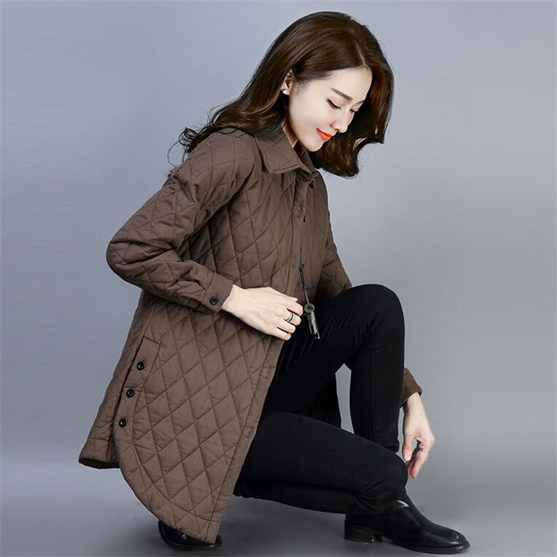 2019 NEW Thin Quilted Jacket Autumn Winter New Shirt Collar Middle Age Women Cotton-padded Tops Mother Coat