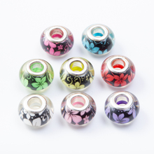20Pcs/Lot Mix Color flower Silver Plated Buckle DIY Resin Plastic Bead Charm  Fits for Pandora European Jewelry Bracelet js2247