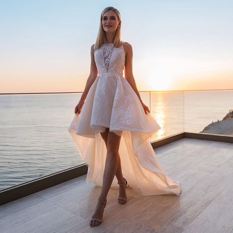 Высокая Низкая 2020 свадебное платье es Свадебные платья кружевная Апликация Hi Lo садовое пляжное свадебное платье vestido de novia