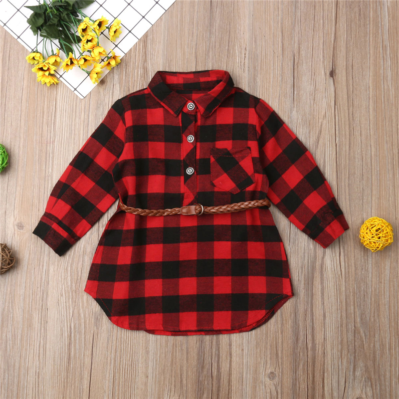 0-5T Christmas Toddler Newborn Kids Baby Girls Dress Red Plaid Cotton Princess Party Long Sleeve Dress Clothes Girl Winter Dress 4