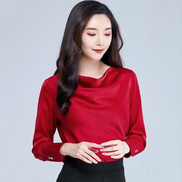 2020 Autumn Women Blouse Shirt Fashion Casual Long Sleeve Solid Color Loose Satin Shirt Plus Size Women Clothing 1