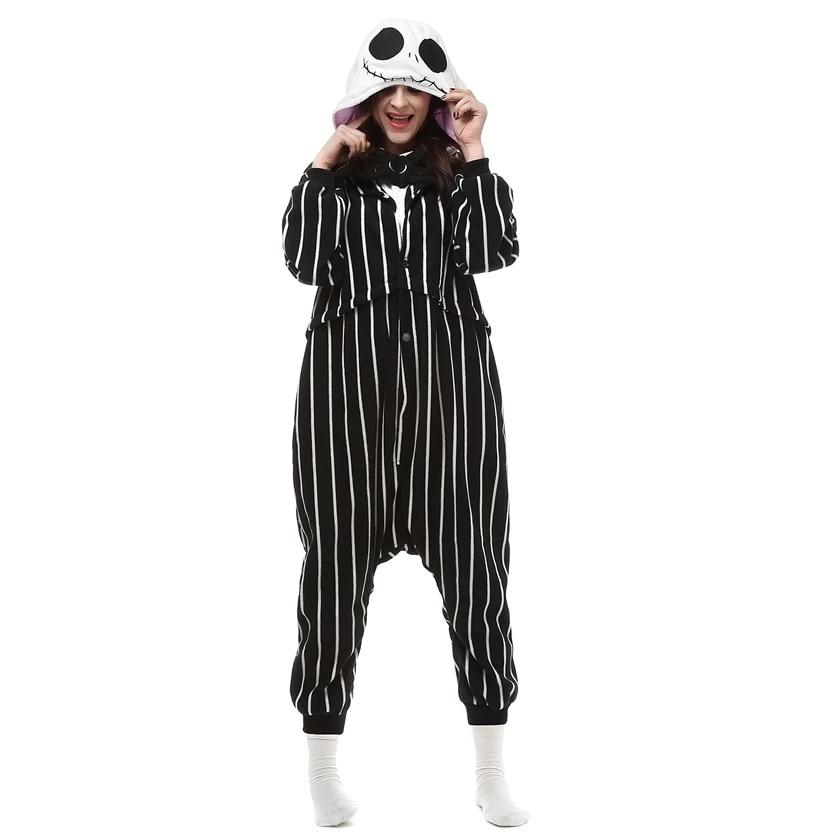 Adult Polar Fleece Kigurumi Jack Skellington Cosplay Costume Cartoon Onesie Pajamas christmas Carnival Masquerade Party Jumpsuit