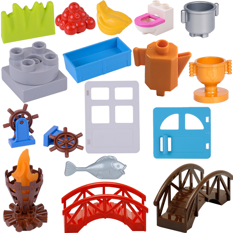 Creator City Series Big Size Building Blocks Toy for Children Accessories Compatible Educational Bridge Toilet Torch Cities