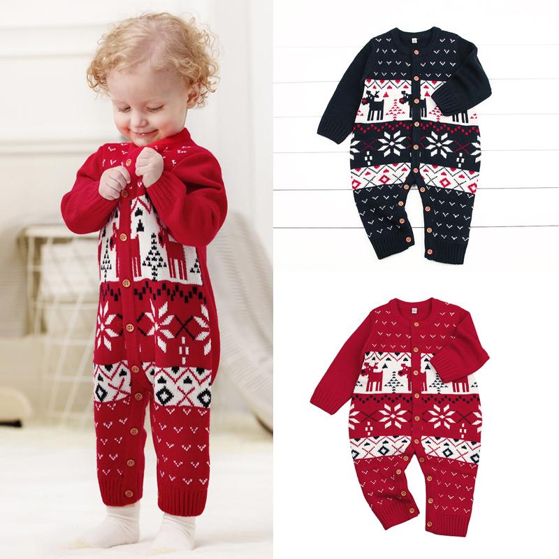 2019 Christmas Newborn Baby Boy Girl Deer Knitting Romper Jumpsuit Warm Xmas Clothes