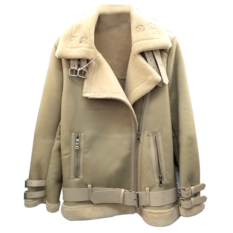 Plus Size S To 3XL 4XLWomen Leather Jacket 2020 Fur Winter Locomotive Warm Thick Sheepskin Shearing Faux Leather Suede Coat
