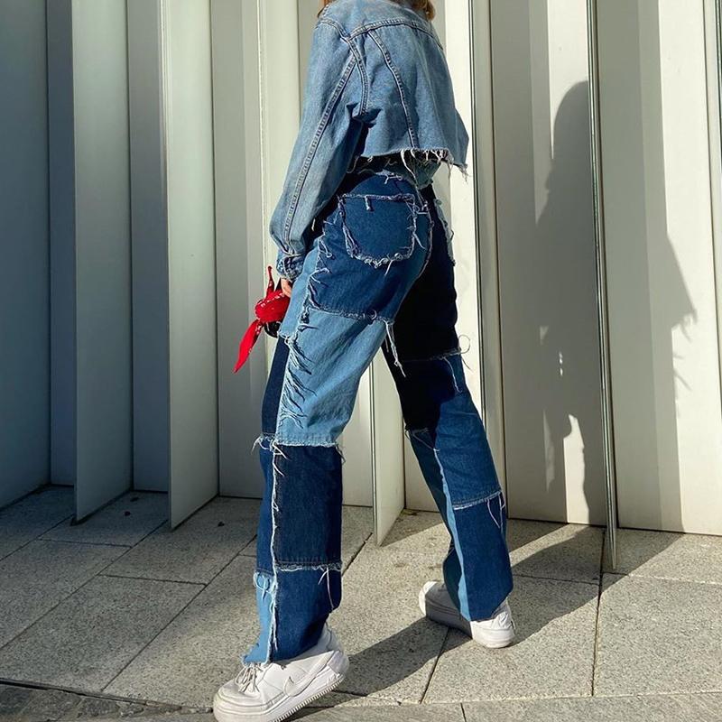 Patchwork Jeans Women Straight Pants High Waist Denim Baggy Jeans Streetwear Distressed Women Jeans Vaqueros Mujer 2020
