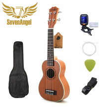 Sevenangel 21 Polegada ukulele soprano 4 cordas mini guitarra 15 trastes havaí ukelele fechado botão uku atacado dropshipping