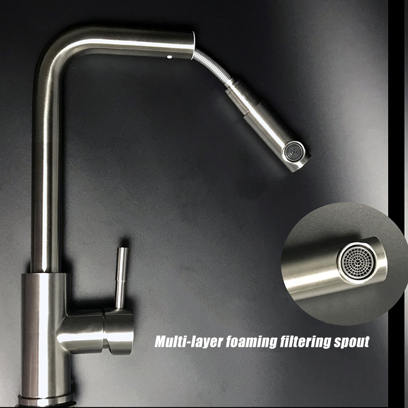Faucet Tap Stainless Steel Pull Out Modern Design Durable for Home Kitchen Sink