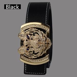Image 2 - 2020 Luxury Brand Belts for Men Fashion Shiny Diamond Domineering Tiger Head Buckle Waist Shaper Leather Belts