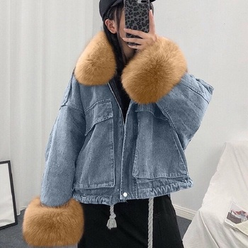 Luzuzi Women Winter Denim Jacket 2020 Oversize Large Fur Collar Plus Velvet Jacket Detachable Thick