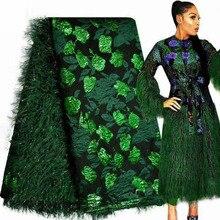 Brocart africain dentelle couleur verte, Jacquard, Tulle nigérian, maille, filet français, dentelle pour femmes, mariage, APW2915B